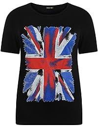 New Ladies Stretch Flag Print Tops Union Jack Print T Shirts 12-26