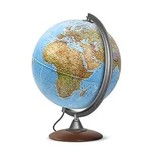 Mappamondo, Globo luminoso, diametro 30 cm, con base in legno - edizione 2017 in italiano - lampadina a LED
