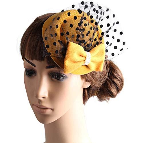 Tage Derby Kostüm - Xiuoamy Frauen Elegante Stirnband Haarschmuck Blume Kopfschmuck Dekoration Ball Party Derby Kirche Wolle Zylinder, gelb