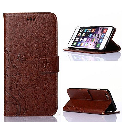 "COOLKE Retro Butterflies Pattern Design PU Leather Wallet With Card Pouch Stand Lederhülle Leder Tasche Case Cover für Apple iPhone 6 6s (4.7"")Schutzhülle Hülle - Rose Dark Braun"