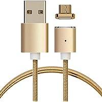 kwmobile Cable de carga magnético microUSB - Cable de nylon de micro USB a USB A - Cable USB de sincronización para Smartphone tablet en dorado