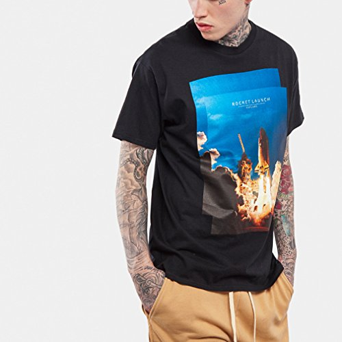 Honghu Herren Rocket-Druck kurze Ärmel T-shirt Schwarz