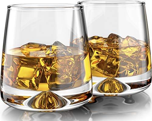 Premium Whiskygläser - groß (312 oz) Set von 2 - Bleifrei mundgeblasen Kristall - dicker beschwerter Boden - nahtloses Design - perfekt für Scotch, Bourbon, Manhattan, Old Fashioned, Cocktails etc. Old Fashioned Cocktail