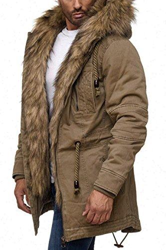 Nylon-fleece-jacke-mantel (Husaria Designer Jacke Winterjacke mit Kapuze und stylischem Fell Winter Camouflage Parka 9203 (M, Beige))
