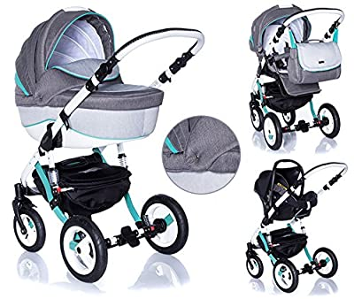 Kombi Kinderwagen Travel System Adamex Barletta Rainbow Mint Buggy Sportwagen + Maxi-Cosi Cabriofix + Adapter