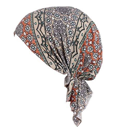 YONKINY Kopftuch Turban Damen Eleganter Elastic Muslim Bandana Hat Wrap Kopfbedeckung Schal Mützen Headscarf Fur Haarverlust Chemotherapie (Grün#2) -