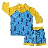 Jan & Jul Baby Kleinkind Kinder Ausschlag Schutz UPF 50 Sonnenschutz Shirt und Shorts Set (L: 18 – 36m, Ananas)