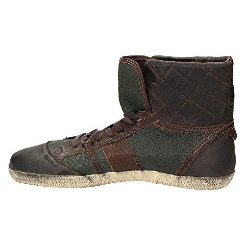 Liebeskind LK2027 Damen Schuh High-Top Sneaker Schnürer Leder Snake Braun/Grün Brown/Green/Snake