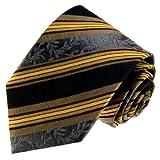 Produkt-Bild: LORENZO CANA - Marken Krawatte aus 100% Seide - schwarz silber gold Barock Streifen - 84376