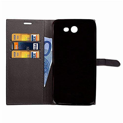 EKINHUI Case Cover Slim Premium PU Leder Geldbörse Hülle Flip Stand Schutzhülle mit Card Slots und Niet Gürtelschnalle Closure für Samsung Galaxy J5 (2017) American Edition ( Color : Brown ) Black