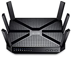 TP-Link Archer C3200 Tri-Band WLAN Gaming Router (2x 1300Mbit/s (5GHz) + 600Mbit/s (2,4GHz), 4 Gigabit LAN Ports, 1GHz Dual-Core CPU, Print/Media/FTP Server, Beamforming) schwarz