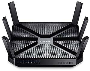 TP-Link Routeur - Wi-Fi Gigabit Tri-Bande: 600 Mbps en 2.4 GHz, 2x 1300 Mbps en 5 GHz, 5 ports Ethernet Gigabit, 1 port USB 3.0 + 1 port USB 2.0 (Archer C3200)- Noir- AC Tri-bande Hyper rapide