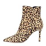50ae2f594 HNBoots Mujer Leopardo Stiletto Tacón Alto Tobillo Botas Señoras Gamuza  Punta Puntiaguda Vespertino Vestido Botas