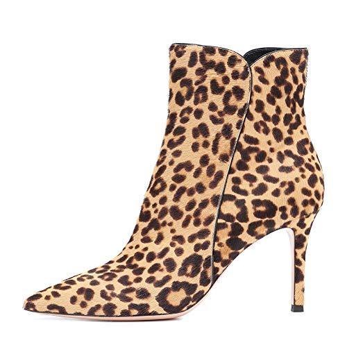 d Stilett Hoher Absatz Knöchel Stiefel Wildleder Spitzschuh Abend Kleiden Stiefel, Leopard ()