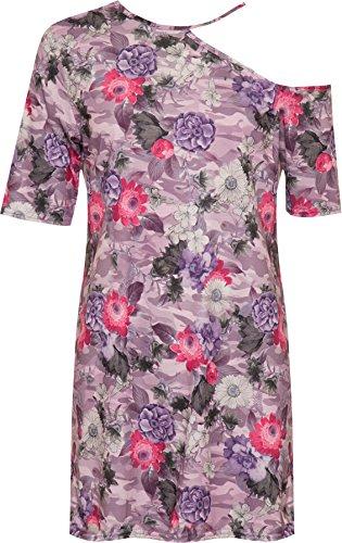 WEARALL Damen Plus Einer Kalt Schulter Mini Kleid Top Damen Kurz Hülle Blumen Druck - 42-56 Lila