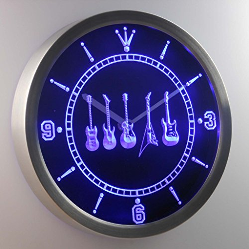 nc0450-b Guitar Weapons Hero Bar Beer Neon Sign LED Wall Clock Uhr Leuchtuhr/ Leuchtende Wanduhr (Neon Uhr)