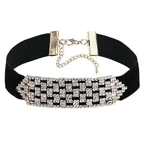 Epinki Women Choker Velvet Collar Mesh Pattern Choker Classic Lady Chain Gold Black, 30.5 + 8 CM