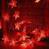Lichterkette LED Sterne Licht 2M 10 LEDs Crystal Clear Sternen Lichterkette Innen Deko, Batterienbetriebene, Weihnachtsbeleuchtung für Weihnachten Hochzeit Party Weihnachtsbaum (rot)