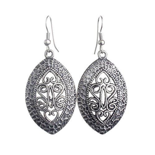 Lureme® de joyería étnica antigua gancho francés de plata con dise