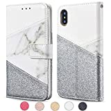 ZCDAYE Wallet Case for iPhone XR,Premium Bling Glitter [Magnetic Closure] PU Leather [Ceramic Pattern] Stand Folio Inner Soft TPU with [Card Slots] Flip Cover for iPhone XR - White