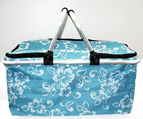 Blau Kühlhaltekorb Einkaufskorb Piknikkorb Warmhaltekorb LUXUS Blume