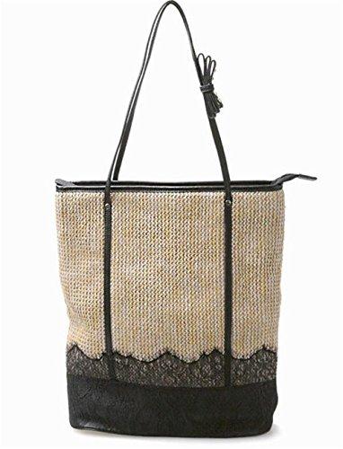 Borsa in pizzo di spalla della paglia Borsa a maglia delle donne di rivettatura delle donne in tessuto Donne a tessuto Tote da tiro con l'arco per spiaggia di estate , black black