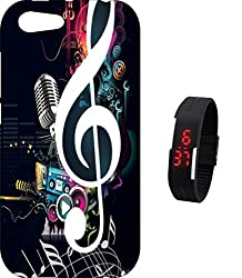 BKDT Marketing Printed Back cover for Panasonic P55 Novo with Digital Watch