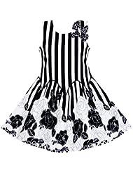 Sunny Fashion Robe Fille Sans manches Noir Blanc Stripes Fleur Arc Attacher