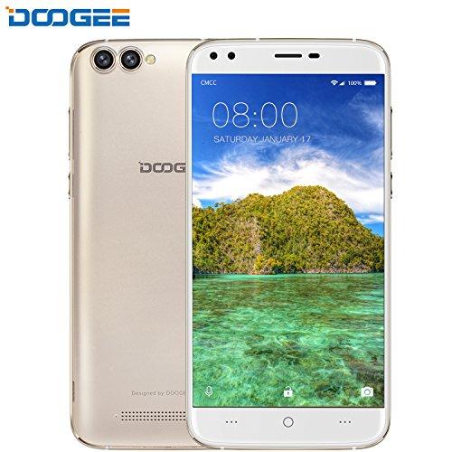 Smartphone ohne vertrag, DOOGEE X30 Dual Sim Android 7.0 Handy, 5.5 Zoll IPS HD Display, 2GB RAM + 16GB ROM, Mali 400 525MHz - Dual 5.0MP Front Kameras + Dual 8.0MP Hintere Kameras - 3360mAh - Gold