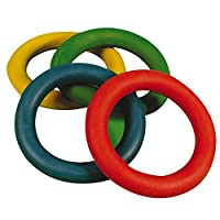 CreativeMinds UK Rubber Quoits Hoop Traditional Fun Play Throwing Coloured Rings Toss Sold Single