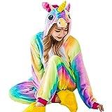 GOTH Perhk Unisexe Femme Enfant Combinaison Pyjama Licorne Pyjama Une Pièce Unicorne â Capuche Costume Cosplay Déguisement H01-Femme S