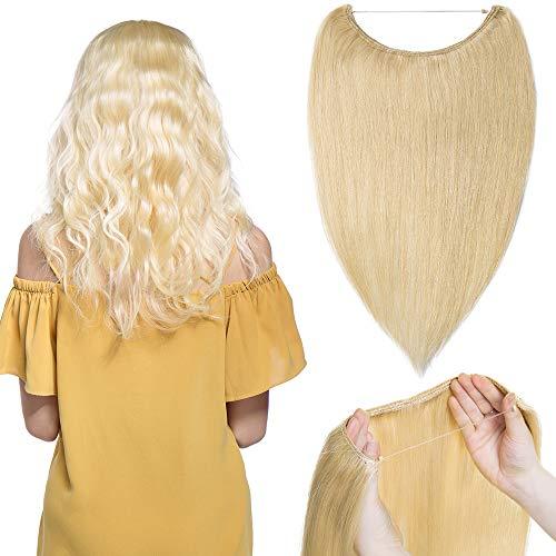 """TESS Extensions Echthaar günstig 1 Tresse Remy Haarverlängerung mit Draht Haarverdichtung Glatt 22\""""(55cm)-75g(#613 Hell-Lichtblond)"""