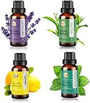 ANEAR Essential Oil, 4pcs x 20ml set Non-Water Soluble, Lavender, Tea Tree, Peppermint, Lemon, Pure, Natural,