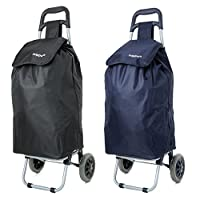 Set of 2 Hoppa 23inch 2 Wheel Lightweight Wheeled Shopping Trolley Shopper Cart, Large 47L Black/Navy