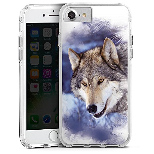 Apple iPhone 7 Bumper Hülle Bumper Case Glitzer Hülle Schnee Snow Wolf Bumper Case transparent