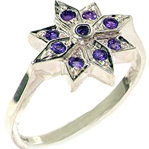 Unusual 925 Solid Sterling Silver Genuine Natural Amethyst Star Cocktail Ring - Size J - Finger Sizes J to Z Available