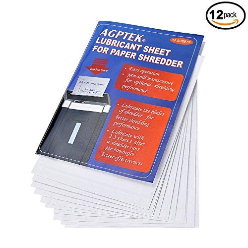 AGPtEK Schmiermittelblätter für Aktenvernichter, Schredder Ölblätter, geeignet für sämtliche Schnittarten, Geräte und Hersteller, aus Pflanzenöl und Recyclingpapier, 12er Pack