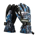 Overmont gants de ski en matériau antidérapant 3D type de PVC gants imperméables pour les sports d'hiver (noir et bleu)