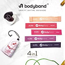BodyBand™ Latex Resistance Bands for Exercise, 4 in 1 Combo for men and women with Towel, Carry Bag and eBook - Set of 5