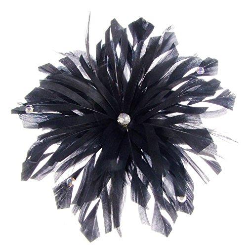 Lima décoré Bibi avec plumes sur peigne en noir (e7208blk)