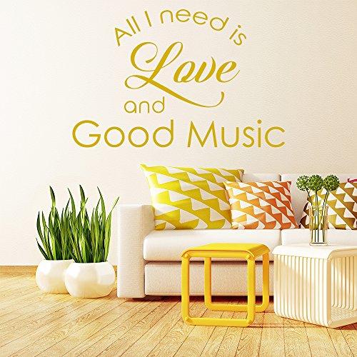 Liebe-und-gute-Musik-Wandaufkleber-Inspirierend-Zitat-Wandtattoo-Schlafzimmer-Dekor-verfgbar-in-5-Gren-und-25-Farben-Extraklein-Basalt-Grau