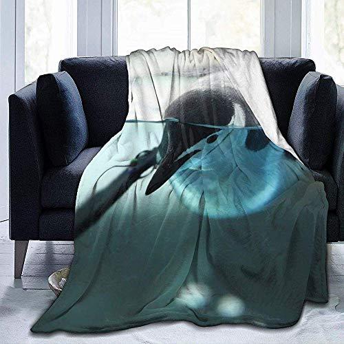 Schwimmen Pinguin-gemütliche Plüsch solide Decke,super weiche Flauschige Fleecedecke für Schlafzimmer Wohnzimmer, 102 x 127 cm (50 x 40 Zoll)