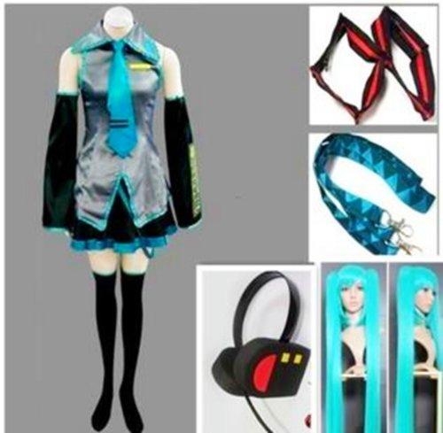 Vocaloid Miku Hatsune Cosplay & Perücke Komplettes Set,Größe XL(170-175cm, 55-60 (Billig Miku Hatsune Kostüme)
