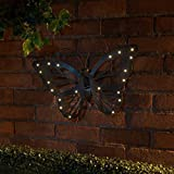 New Solar Powered Cast Iron Effect Led Light Indoor Outdoor Butterfly Wall Art