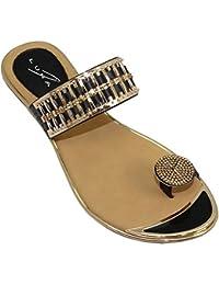 Saphir Boutique jlh914 ohne Bügel Edelstein Schlaufe Gold Bar auf Top Riemen Elbe Zehenstegsandalen - Weiß, 7 UK