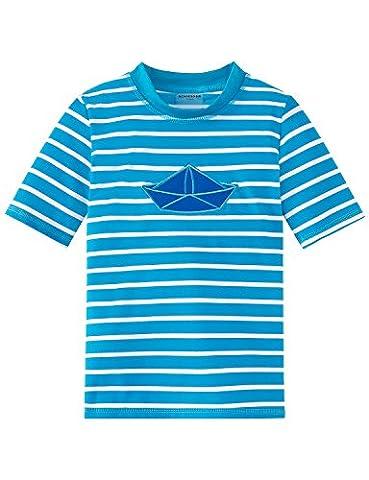 Schiesser Jungen Bademantel Aqua Bade-Shirt, Blau (Blau 800), 92 (Herstellergröße:092) (Aqua Ärmel)