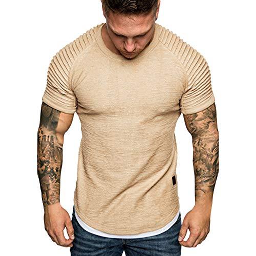 Herren T-Shirt,❤️Binggong Herren Sommer Falten Slim Fit Raglan Kurzarm Muster Top Einfarbig Bluse (XL, Khaki) -