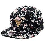 Jastore ® Hip Hop Blumen Mütze Snapback Hut Flat Schildmütze Baseball Kappe Cap größenverstellbar (Schwarz)