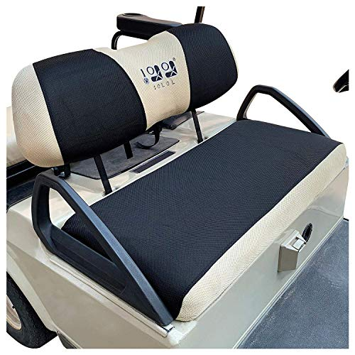 10L0L Golf Cart Sitzbezug Set, waschbares Polyester-Netzgewebe, passend für Club Car DS & Precedent, EZGO TXT & RXV, Yamaha Electric Golf Carts, Black + Beige-fits Club Car DS & Precedent, Yamaha -