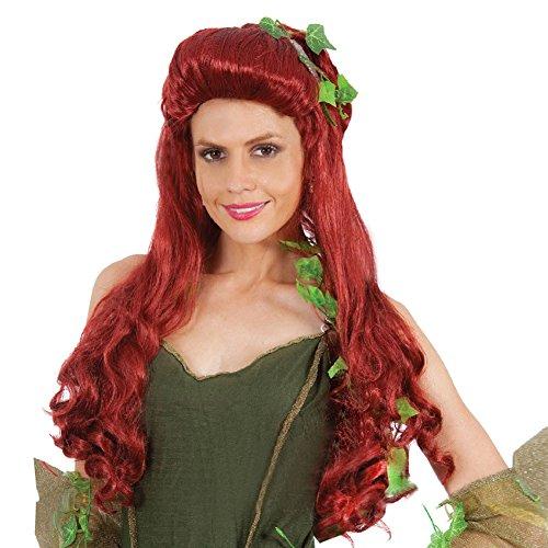 Halloween Kostüm Wig Poison Ivy Cosplay Perücke Synthitic Faser Damen Lange Red Lockig Partei Haar Zubehör (Poison Ivy Kostüme Perücke)